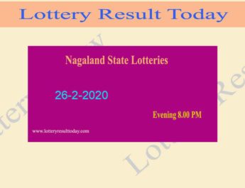 Nagaland State Lottery Dear Eagle Result 26.2.2020 (8 PM) -Lottery Sambad