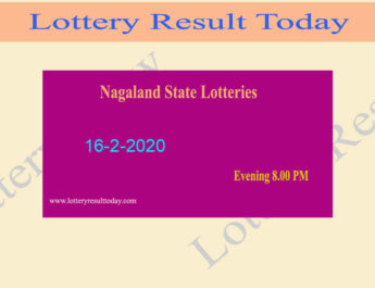 Nagaland State Lottery Dear Hawk 16.2.2020 Result (8 PM)