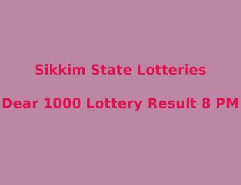 Sikkim Dear 1000 Lottery Result