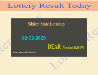 Sikkim State Lottery Dear Love Result 02-02-2020 (11.55 am) - Lottery Sambad