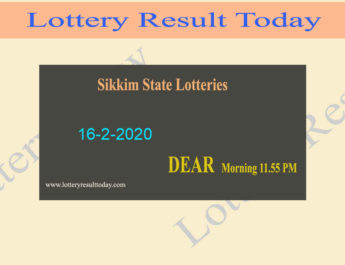 Sikkim State Lottery Dear Love Result 16-2-2020 (11.55 am) - Lottery Sambad