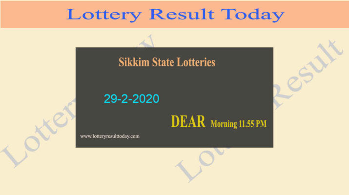 Sikkim State Lottery Result 29.2.2020 (11.55 am) - Lottery sambad
