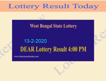 West Bengal State Lottery 13.2.2020 Result (4 PM) - Bangabhumi Bhagirathi