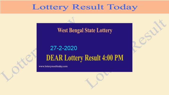 West Bengal State Lottery 27.2.2020 Result (4 PM) - Bangabhumi Bhagirathi