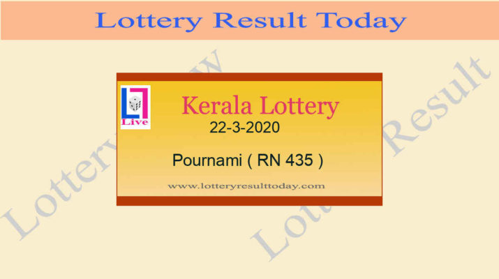 22.3.2020 Pournami Lottery Result RN 435