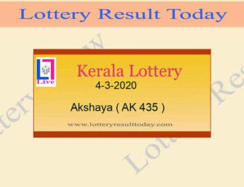 4-3-2020 Akshaya Lottery Result AK 435