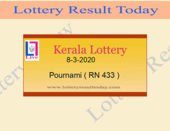 8.3.2020 Pournami Lottery Result RN 433