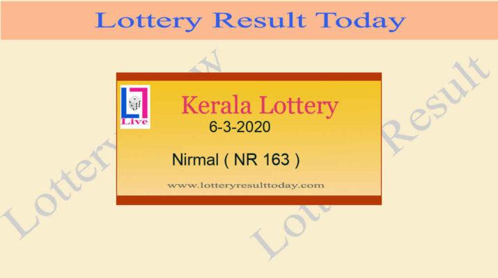 Kerala Lottery 6-3-2020 Nirmal Result NR 163