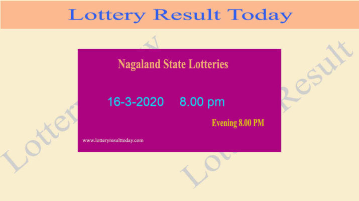 Nagaland Lottery Dear Flamingo Result 16.3.2020 (8.00 pm)