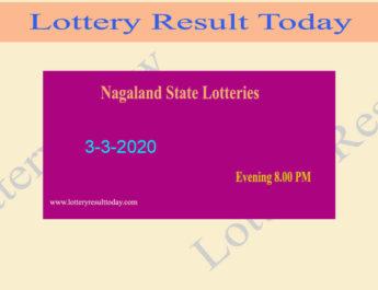 Nagaland State Lottery Dear Parrot Result 3.3.2020 (8.00 PM) - Sambad Result