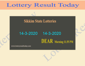 Sikkim Lottery Result 14.3.2020 (11.55 am) - Lottery Sambad