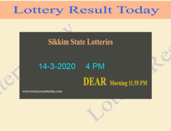 Sikkim State Lottery Dear Honour Result 14-3-2020 (4 PM)