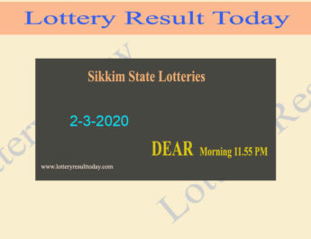 Sikkim State Lottery Dear Luck Result 2-3-2020 (4 PM)