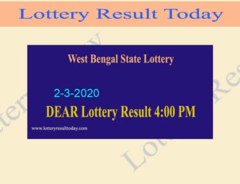 West Bengal State Lottery Result 2-3-2020 (4PM) - Lottery Sambad