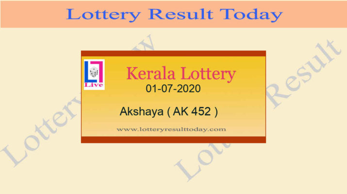 01-07-2020 Akshaya Lottery Result AK 452 - Kerala Lottery