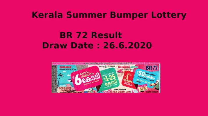 Kerala Summer Bumper Lottery Result 26.6.2020