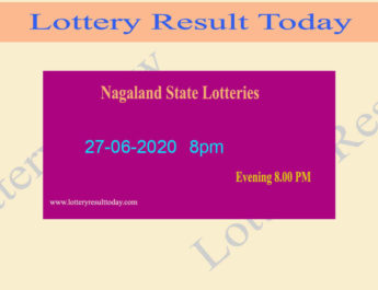 Nagaland State Lottery Dear Ostrich Result 27.06.2020 (8pm)