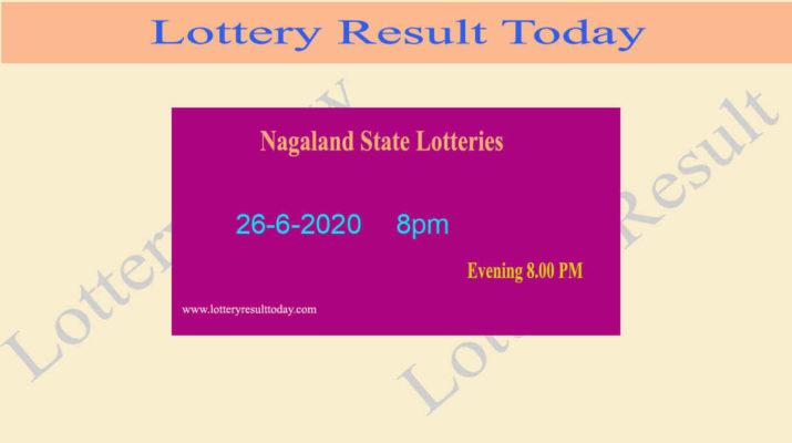 Nagaland State Lottery Result 26-6-2020 Result (8pm) - Sambad Live
