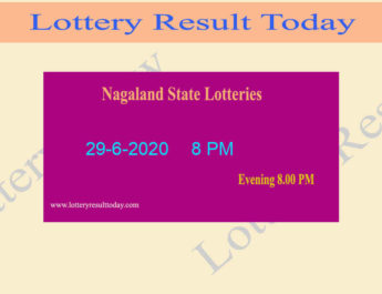 Nagaland State Lottery Result 29.6.2020  (8 PM)- Lottery Sambad