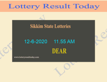 Sikkim State Lottery Dear Treasure Result 12.6.2020 (11.55 AM)
