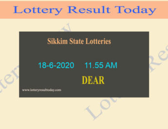 Sikkim State Lottery Sambad Result 18.6.2020 (11.55 AM)