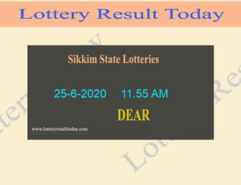 Sikkim State Lottery Sambad Result 25.6.2020 (11.55 AM)
