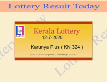 12-7-2020 Karunya Plus Lottery Result KN 324