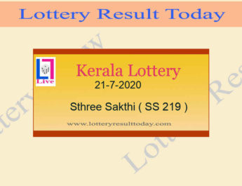 21-7-2020 Sthree Sakthi Lottery Result SS 219