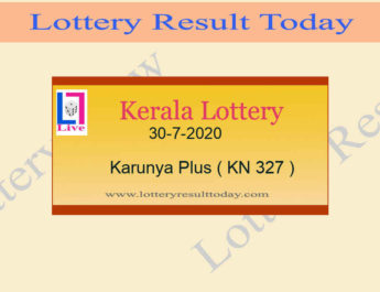 30-7-2020 Karunya Plus Lottery Result KN 327 Live @ 3PM