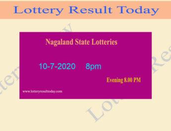 Nagaland State Lottery Result 10-7-2020 Result (8pm) - Sambad Live