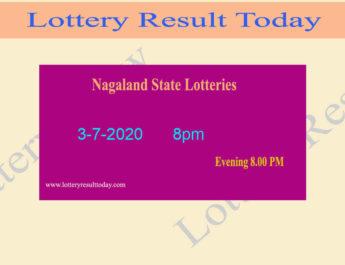 Nagaland State Lottery Result 3-7-2020 Result (8pm) - Sambad Live