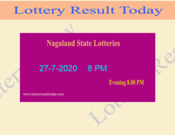 Nagaland State Lottery Result (8 PM) 27.7.2020 Lottery Sambad Live @ 8PM