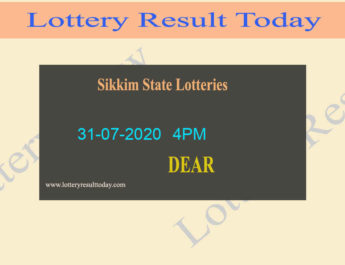 Sikkim State Lottery Result 31-07-2020 - Sambad {Live @ 4PM}