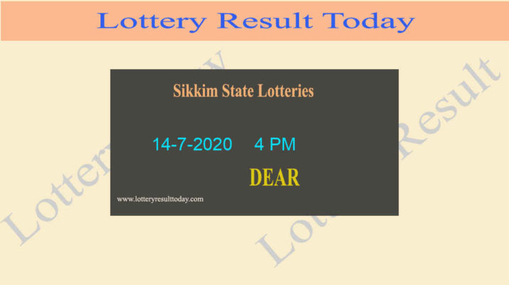 Sikkim State Lottery Result (4 PM) Result 14-7-2020 - Sambad