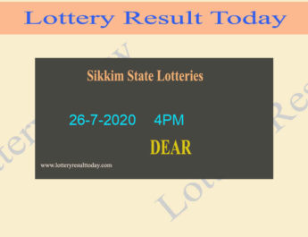 Sikkim State Lottery Sambad Dear Prospect Result 26-7-2020 Live @ 4PM