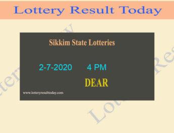Sikkim State Lottery Sambad Result 2.7.2020 (4 PM)