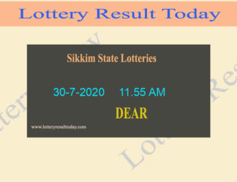 Sikkim State Lottery Sambad Result 30.7.2020 (11.55 AM) - Live @ 11.55 AM