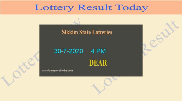Sikkim State Lottery Sambad Result 30.7.2020 (4 PM) - Live @ 4PM