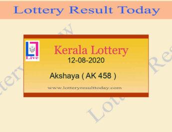 12-08-2020 Akshaya Lottery Result AK 458 - Kerala Lottery Live @ 3PM