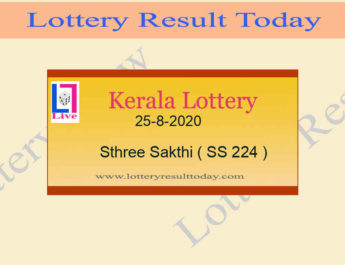 25-8-2020 Sthree Sakthi Lottery Result SS 224