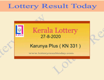 27-8-2020 Karunya Plus Lottery Result KN 331 Live @ 3PM