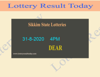 Lottery Sambad Result (4PM) 31-8-2020 Sikkim State Lottery Live @ 4PM