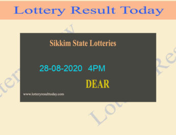 Sikkim State Lottery Result 28-08-2020 - Sambad {Live @ 4PM}