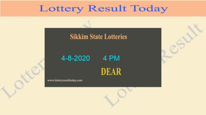 Sikkim State Lottery Result (4 PM) Result 4-8-2020 - Live @ 4PM