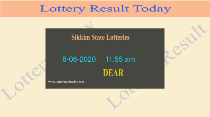 Sikkim State Lottery Sambad (11.55 am) Result 8.08.2020 {Live@11:55AM}