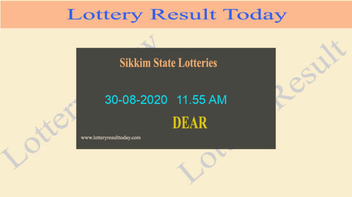 Sikkim State Lottery Sambad Dear Love Result 30.08.2020 Live @ 11.55 AM