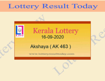 16-09-2020 Akshaya Lottery Result AK 463 - Kerala Lottery Live @ 3PM
