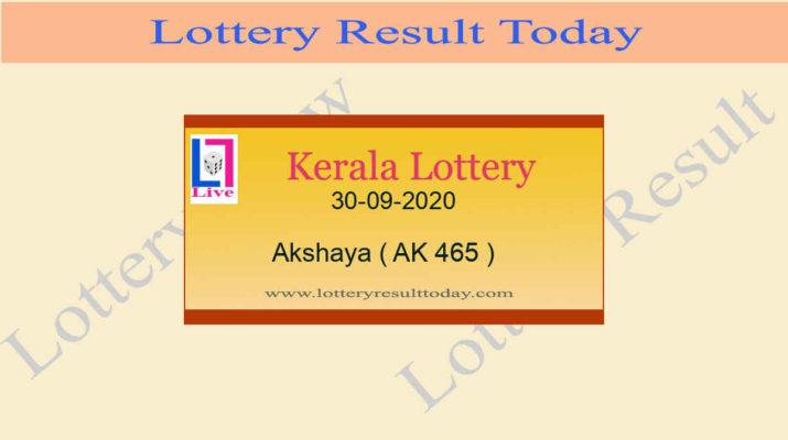 30-09-2020 Akshaya Lottery Result AK 465 - Kerala Lottery Live @ 3PM