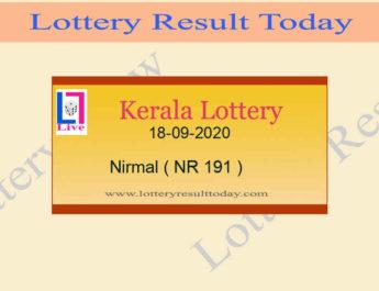 Kerala Lottery Result 18-09-2020 Nirmal NR 191 {Live @ 3PM}