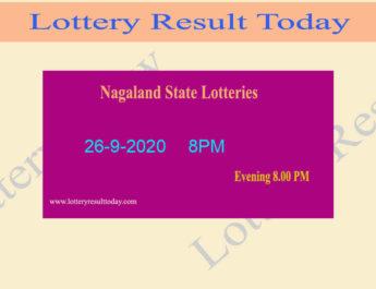 Nagaland State Lottery Sambad Result 26.9.2020 - Live @ 8PM